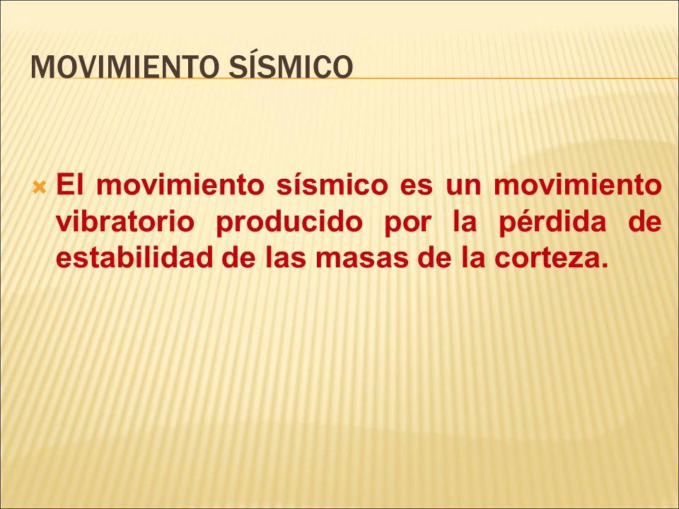 MOVIMIENTO SÍSMICO El movimiento sísmico es un movimiento vibratorio producido por la pérdida de estabilidad de las masas de la corteza.