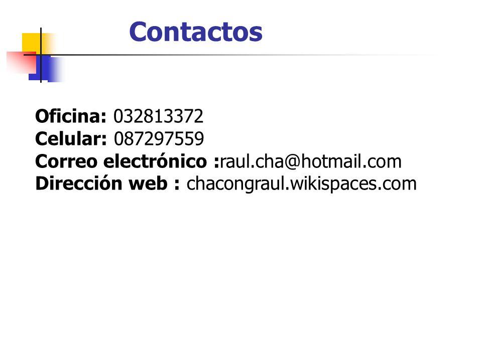 Contactos Oficina: 032813372 Celular: 087297559 Correo electrónico :raul.cha@hotmail.com Dirección web : chacongraul.wikispaces.com