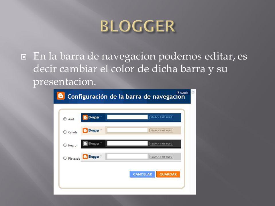 En la barra de navegacion podemos editar, es decir cambiar el color de dicha barra y su presentacion.