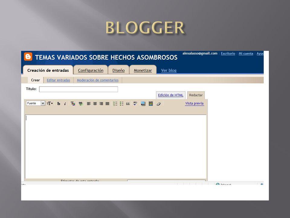 La creacion de en entradas seran cada uno de los titulos de tema de interes que apareceran en nuestro blog.