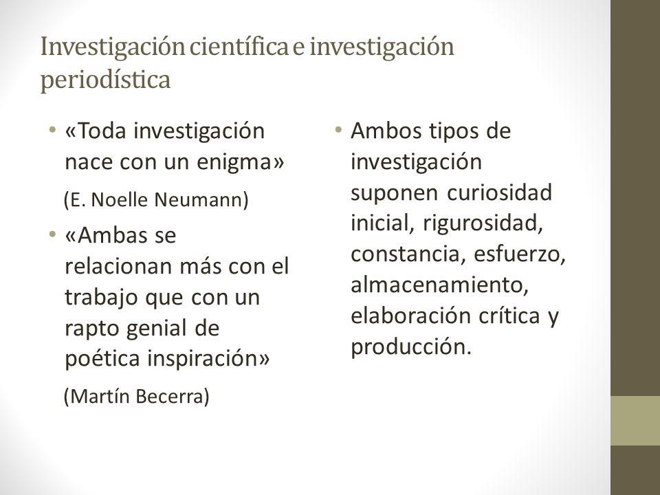 Investigación científica e investigación periodística «Toda investigación nace con un enigma» (E. Noelle Neumann) «Ambas se relacionan más con el trab