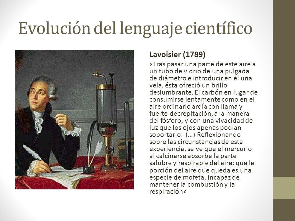 Evolución del lenguaje científico Lavoisier (1789) «Tras pasar una parte de este aire a un tubo de vidrio de una pulgada de diámetro e introducir en é