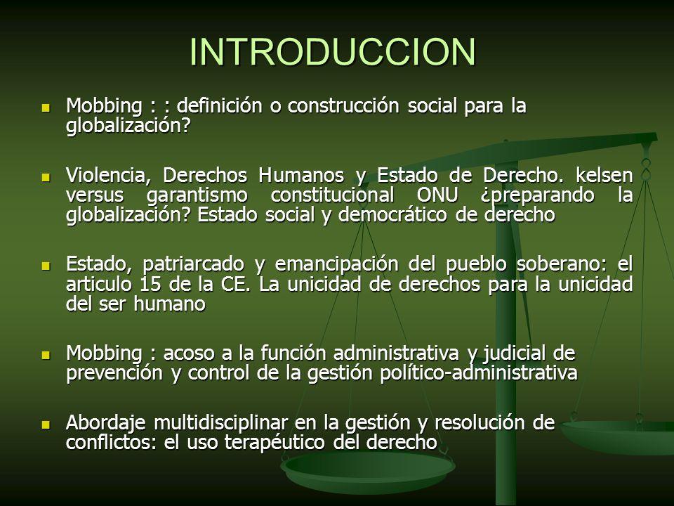 USO TERAPEUTICO DEL DERECHO - ACOSADOR/ACOSADO: Tratamiento de urgencia psico-socio-jco (PREVENCION PRIMARIA) - GRUPO (acosador+ trabajadores) / ACOSADO: (ABUSO PODER DE REFERENTE + PODER LEGITIMO + PODER DE RECOMPENSA) - ( (INFORMACION ILEGALIDAD + INTERVENCION DE UN TERCERO)* = ------------------------------------------------------------------------------------------------------------------- --------- USO TERAPEUTICO DEL DERECHO (Prevención secundaria y terciaria) *Inspección de Trabajo + Medico de empresa + sindicatos + asociaciones + expertos + fiscalia