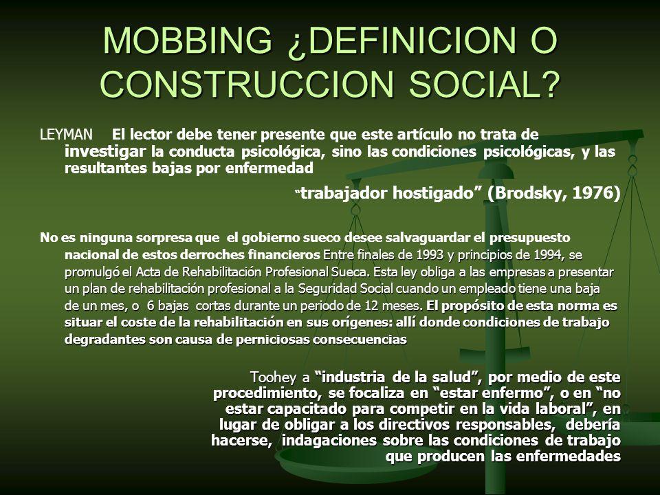 MOBBING ¿DEFINICION O CONSTRUCCION SOCIAL.