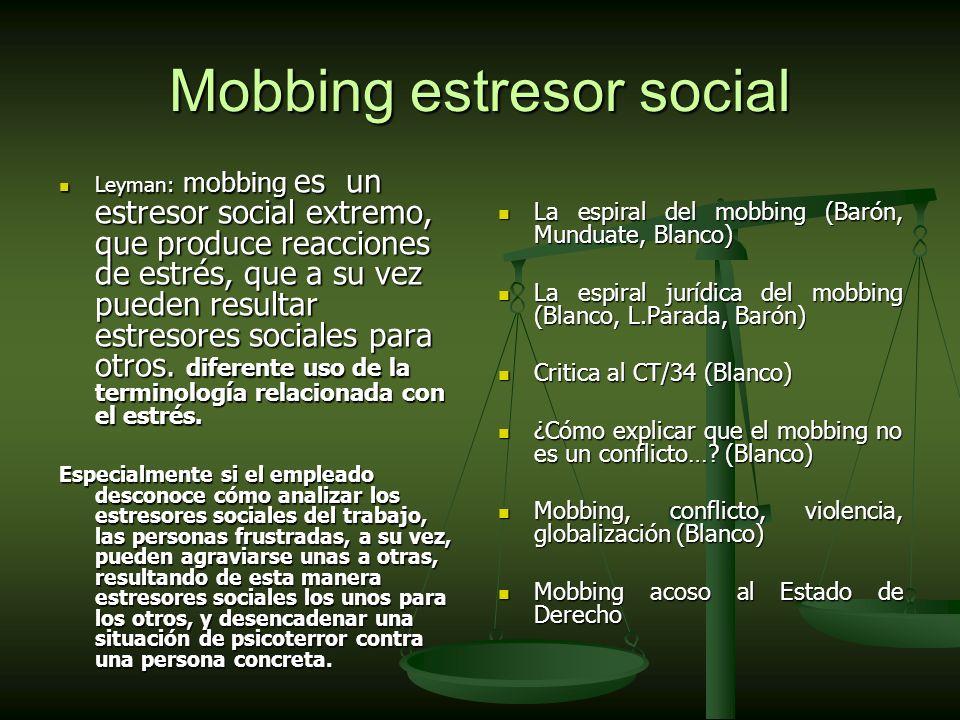 Mobbing estresor social Leyman: mobbing es un estresor social extremo, que produce reacciones de estrés, que a su vez pueden resultar estresores sociales para otros.