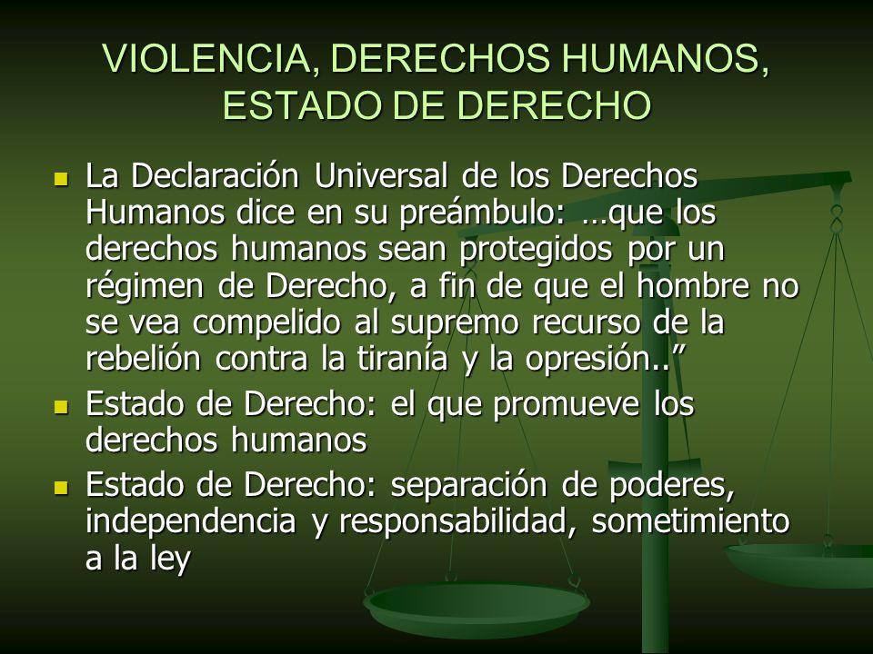VIOLENCIA, DERECHOS HUMANOS, ESTADO DE DERECHO La Declaración Universal de los Derechos Humanos dice en su preámbulo: …que los derechos humanos sean protegidos por un régimen de Derecho, a fin de que el hombre no se vea compelido al supremo recurso de la rebelión contra la tiranía y la opresión..