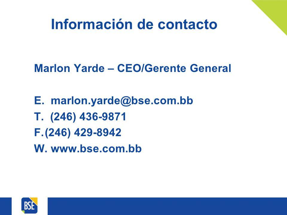 Información de contacto Marlon Yarde – CEO/Gerente General E.