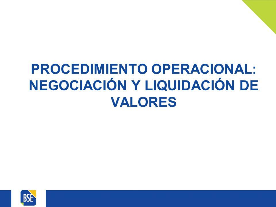 PROCEDIMIENTO OPERACIONAL: NEGOCIACIÓN Y LIQUIDACIÓN DE VALORES