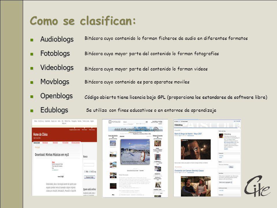 Audioblogs Audioblogs Fotoblogs Fotoblogs Videoblogs Videoblogs Movblogs Movblogs Openblogs Openblogs Edublogs Edublogs Se utiliza con fines educativos o en entornos de aprendizaje Código abierto tiene licencia bajo GPL (proporciona los estandares de software libre) Como se clasifican: Bitácora cuya mayor parte del contenido lo forman fotografías Bitácora cuya mayor parte del contenido lo forman videos Bitácora cuyo contenido lo forman ficheros de audio en diferentes formatos Bitácora cuyo contenido es para aparatos moviles