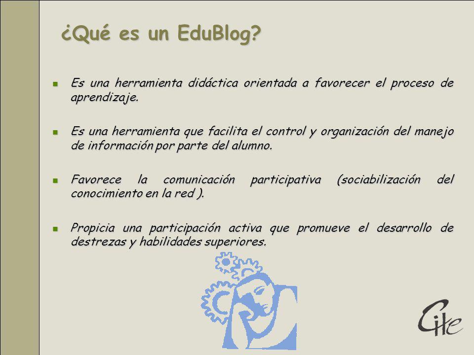 ¿Qué es un EduBlog.Es una herramienta didáctica orientada a favorecer el proceso de aprendizaje.
