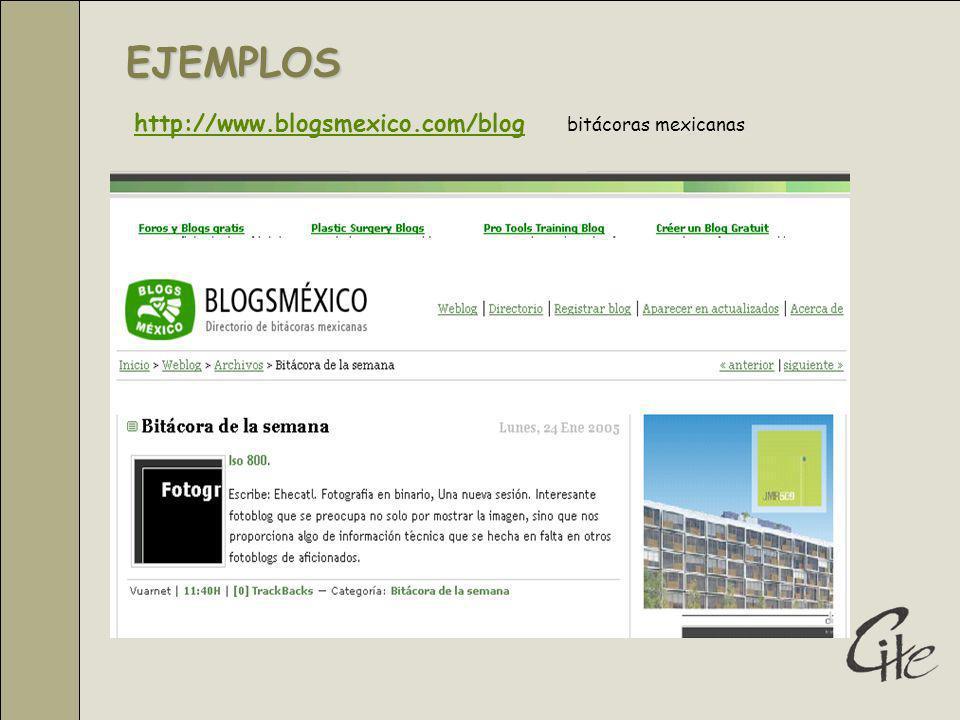 EJEMPLOS http://www.blogsmexico.com/bloghttp://www.blogsmexico.com/blog bitácoras mexicanas