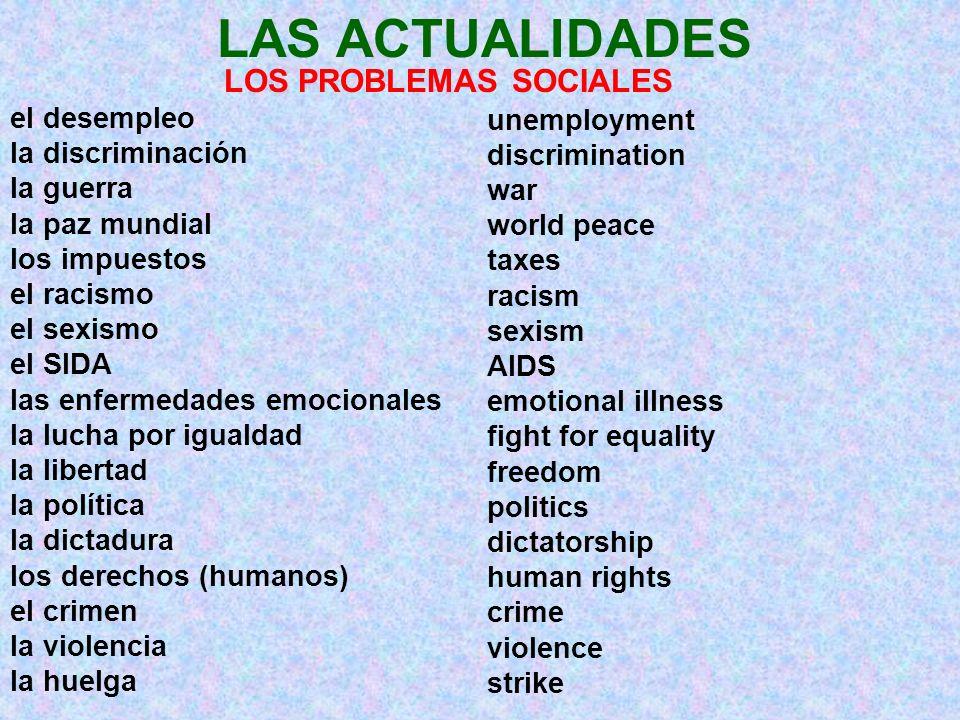 LAS ACTUALIDADES LOS PROBLEMAS SOCIALES el desempleo la discriminación la guerra la paz mundial los impuestos el racismo el sexismo el SIDA las enferm