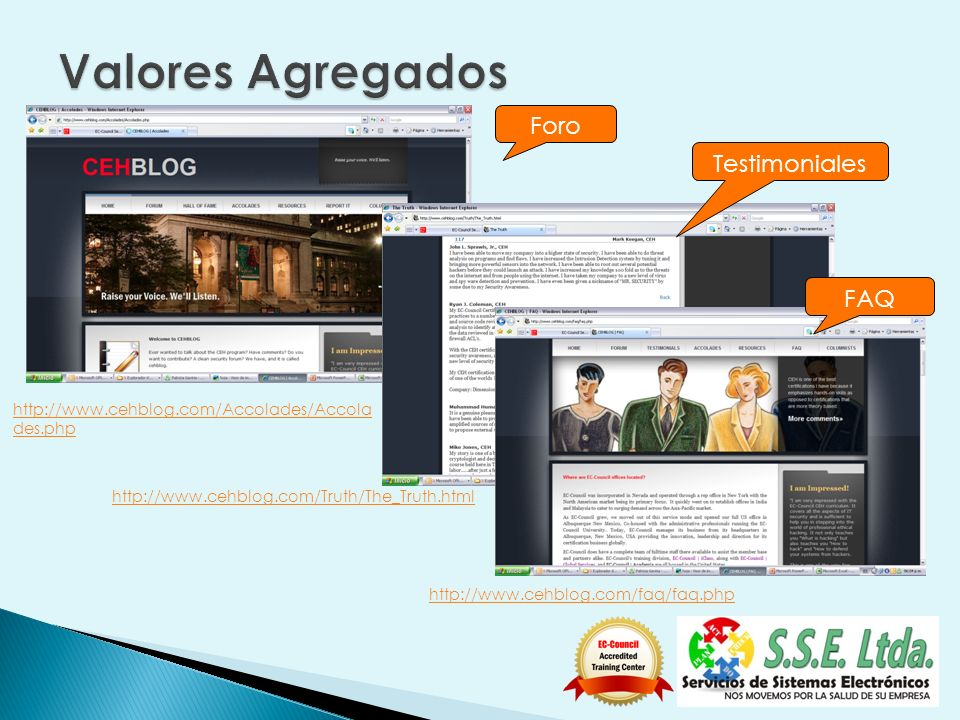 http://www.cehblog.com/Accolades/Accola des.php Foro Testimoniales http://www.cehblog.com/faq/faq.php FAQ http://www.cehblog.com/Truth/The_Truth.html