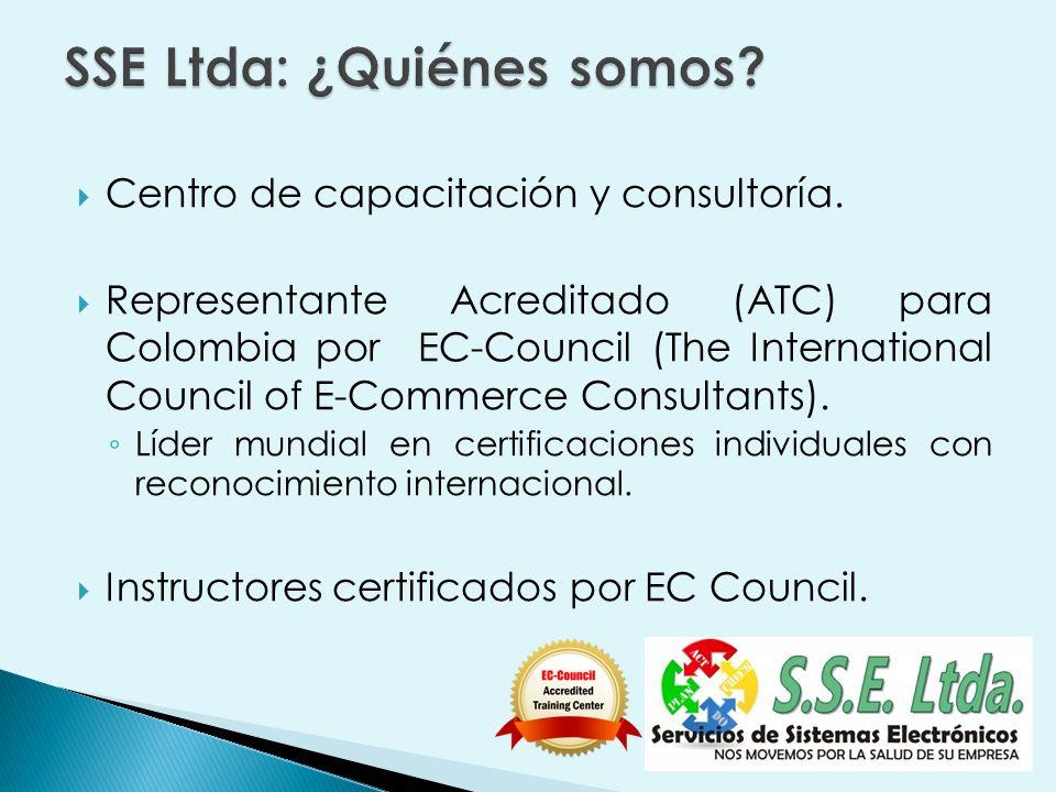 Centro de Entrenamiento Acreditado (ATC) para Colombia por EC-Council Experiencia de varios años en capacitación en Tecnologías de la Información y las Comunicaciones.