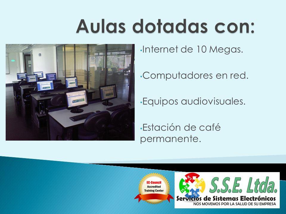 Internet de 10 Megas. Computadores en red. Equipos audiovisuales. Estación de café permanente.