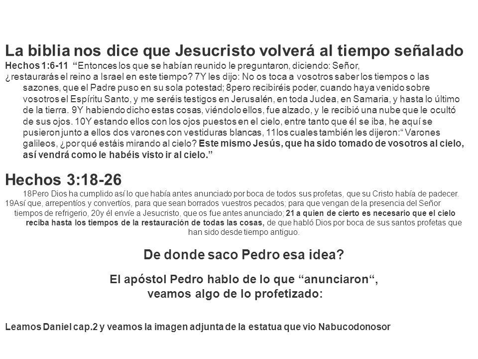 La biblia nos dice que Jesucristo volverá al tiempo señalado Hechos 1:6-11 Entonces los que se habían reunido le preguntaron, diciendo: Señor, ¿restau