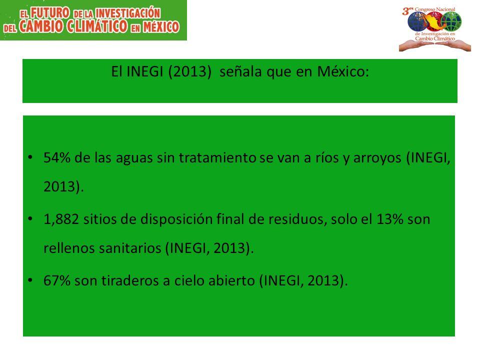 El INEGI (2013) señala que en México: 54% de las aguas sin tratamiento se van a ríos y arroyos (INEGI, 2013). 1,882 sitios de disposición final de res