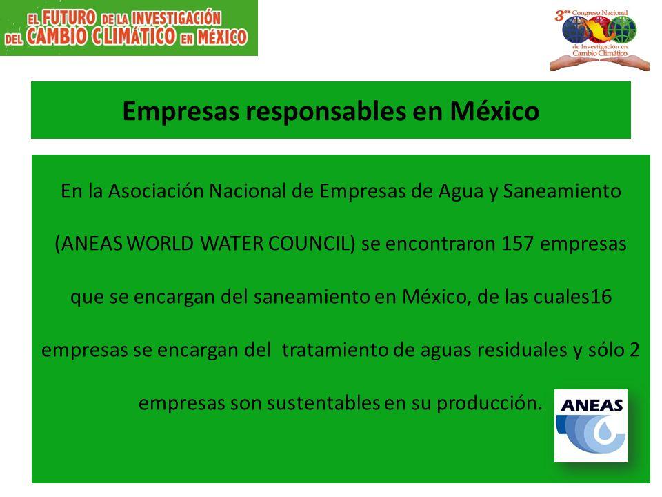 Empresas responsables en México En la Asociación Nacional de Empresas de Agua y Saneamiento (ANEAS WORLD WATER COUNCIL) se encontraron 157 empresas qu