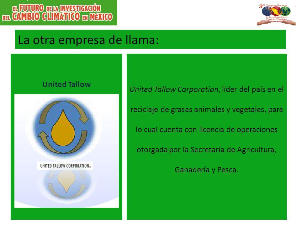 La otra empresa de llama: United Tallow United Tallow Corporation, líder del país en el reciclaje de grasas animales y vegetales, para lo cual cuenta