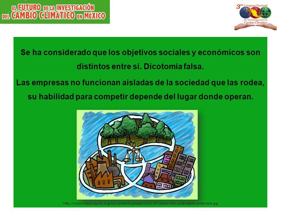 Se ha considerado que los objetivos sociales y económicos son distintos entre sí. Dicotomía falsa. Las empresas no funcionan aisladas de la sociedad q