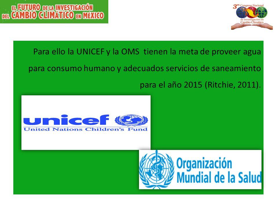 Para ello la UNICEF y la OMS tienen la meta de proveer agua para consumo humano y adecuados servicios de saneamiento para el año 2015 (Ritchie, 2011).