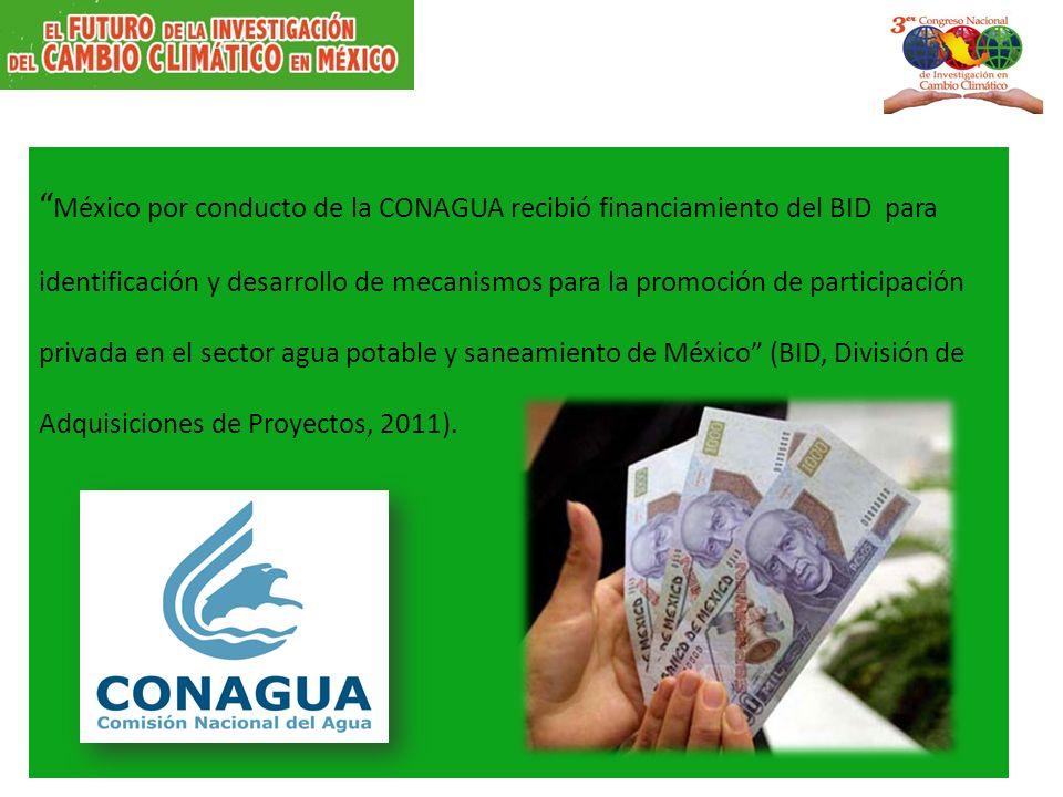 México por conducto de la CONAGUA recibió financiamiento del BID para identificación y desarrollo de mecanismos para la promoción de participación pri