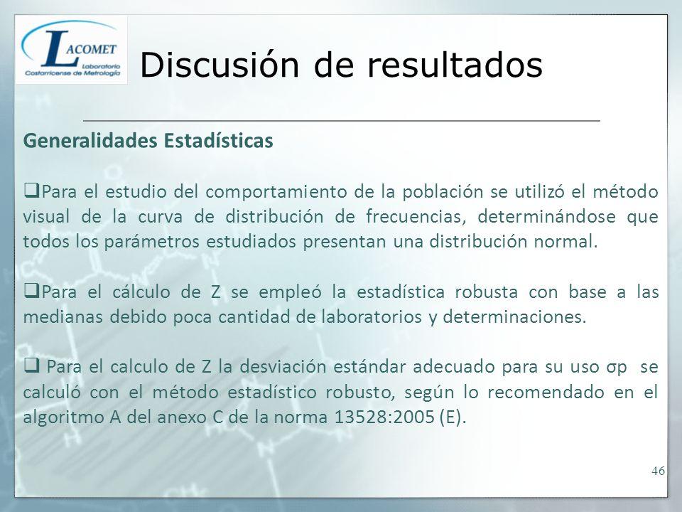 Discusión de resultados Generalidades Estadísticas Para el estudio del comportamiento de la población se utilizó el método visual de la curva de distribución de frecuencias, determinándose que todos los parámetros estudiados presentan una distribución normal.