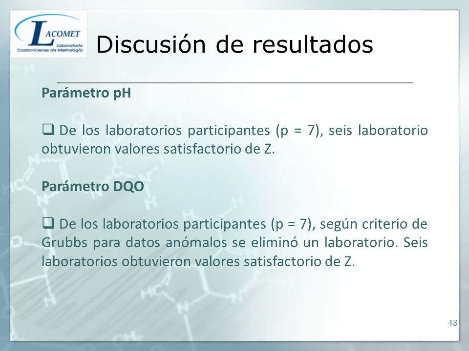 Discusión de resultados Parámetro pH De los laboratorios participantes (p = 7), seis laboratorio obtuvieron valores satisfactorio de Z. Parámetro DQO
