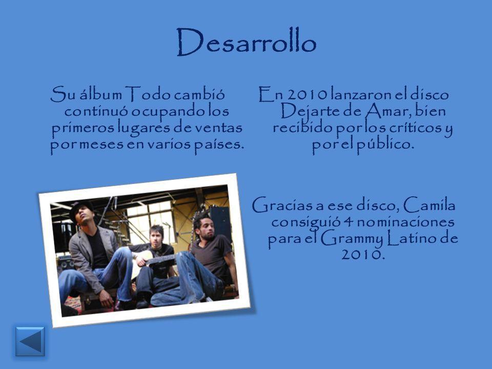Desarrollo Su álbum Todo cambió continuó ocupando los primeros lugares de ventas por meses en varios países. En 2010 lanzaron el disco Dejarte de Amar