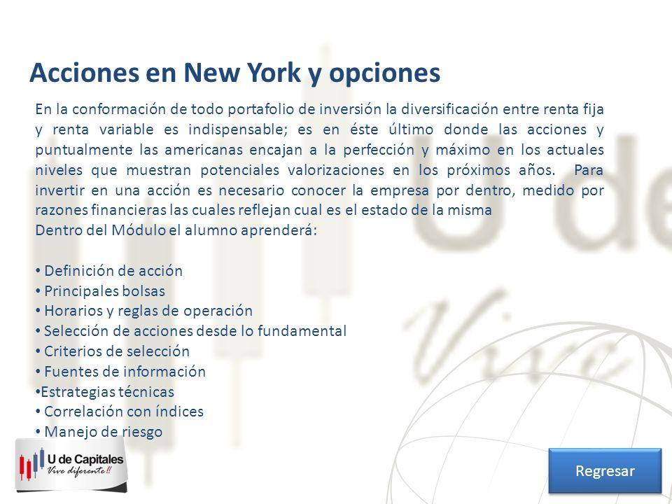 Acciones en New York y opciones En la conformación de todo portafolio de inversión la diversificación entre renta fija y renta variable es indispensab