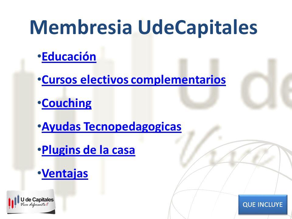 Membresia UdeCapitales Educación Cursos electivos complementarios Couching Ayudas Tecnopedagogicas Plugins de la casa Ventajas QUE INCLUYE