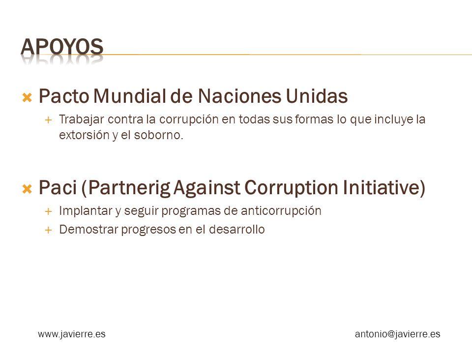 Pacto Mundial de Naciones Unidas Trabajar contra la corrupción en todas sus formas lo que incluye la extorsión y el soborno. Paci (Partnerig Against C