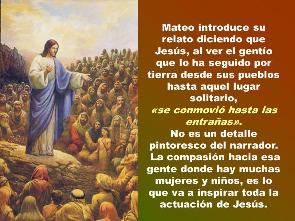 Mateo introduce su relato diciendo que Jesús, al ver el gentío que lo ha seguido por tierra desde sus pueblos hasta aquel lugar solitario, «se conmovió hasta las entrañas».