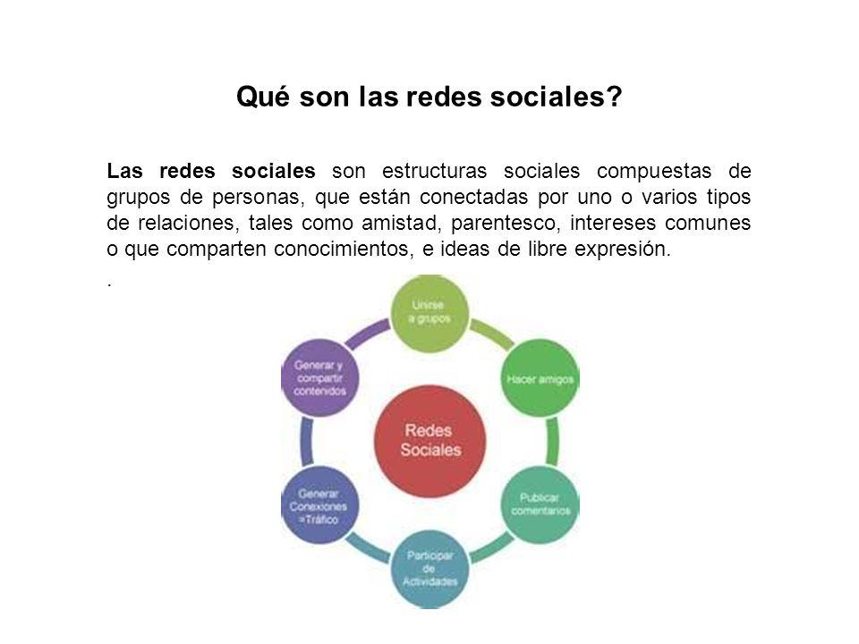 Qué son las redes sociales? Las redes sociales son estructuras sociales compuestas de grupos de personas, que están conectadas por uno o varios tipos