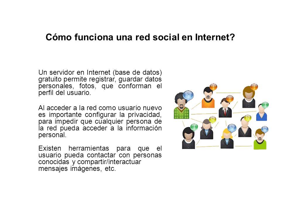 Cómo funciona una red social en Internet? Un servidor en Internet (base de datos) gratuito permite registrar, guardar datos personales, fotos, que con