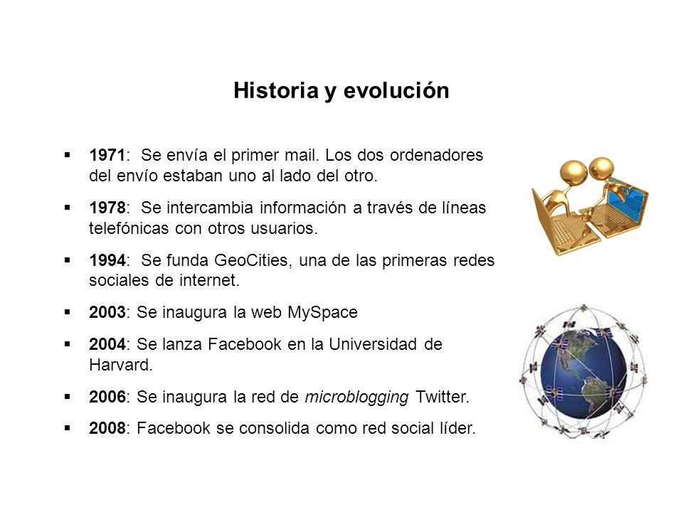 Historia y evolución 1971: Se envía el primer mail. Los dos ordenadores del envío estaban uno al lado del otro. 1978: Se intercambia información a tra