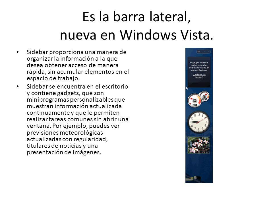 Es la barra lateral, nueva en Windows Vista. Sidebar proporciona una manera de organizar la información a la que desea obtener acceso de manera rápida