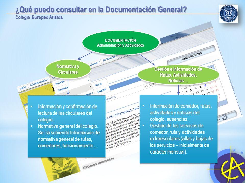 ¿Qué puedo consultar en la Documentación General? Colegio Europeo Aristos Información y confirmación de lectura de las circulares del colegio. Normati