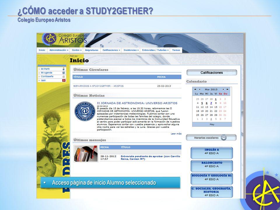 ¿CÓMO acceder a STUDY2GETHER? Colegio Europeo Aristos Selección de Hijo. Selección de Hijo. Acceso a Información referente a dicho alumno Acceso a Inf