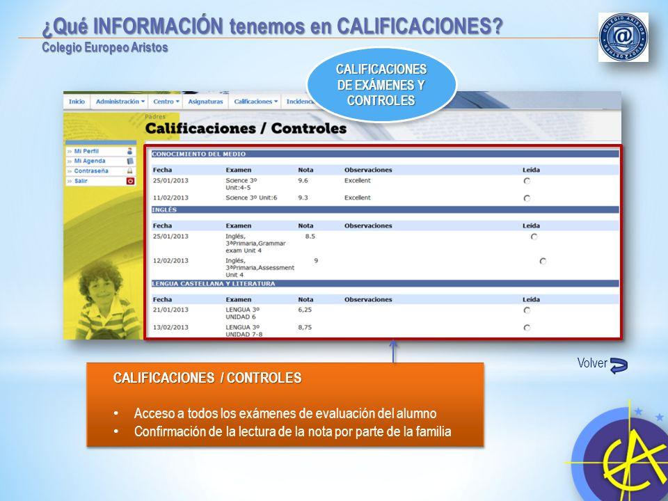 CALIFICACIONES / CONTROLES Acceso a todos los exámenes de evaluación del alumno Confirmación de la lectura de la nota por parte de la familia CALIFICA