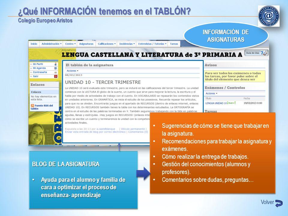 INFORMACIÓN DE ASIGNATURAS INFORMACIÓN DE ASIGNATURAS BLOG DE LA ASIGNATURA Ayuda para el alumno y familia de cara a optimizar el proceso de enseñanza