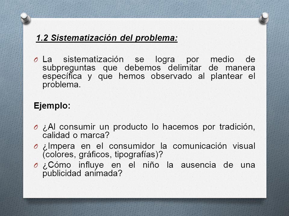 1.2 Sistematización del problema: O La sistematización se logra por medio de subpreguntas que debemos delimitar de manera específica y que hemos obser