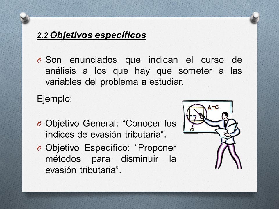 2.2 Objetivos específicos O Son enunciados que indican el curso de análisis a los que hay que someter a las variables del problema a estudiar. Ejemplo