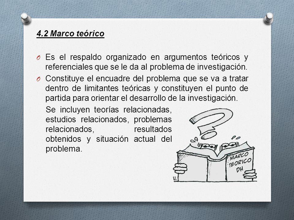 4.2 Marco teórico O Es el respaldo organizado en argumentos teóricos y referenciales que se le da al problema de investigación. O Constituye el encuad