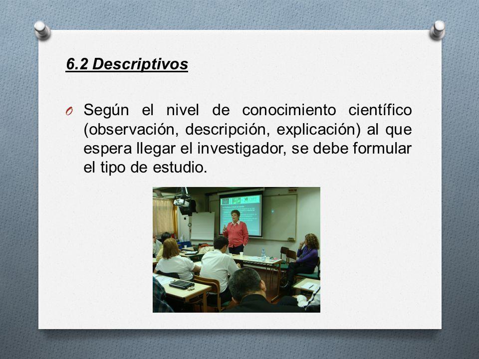 6.2 Descriptivos O Según el nivel de conocimiento científico (observación, descripción, explicación) al que espera llegar el investigador, se debe for