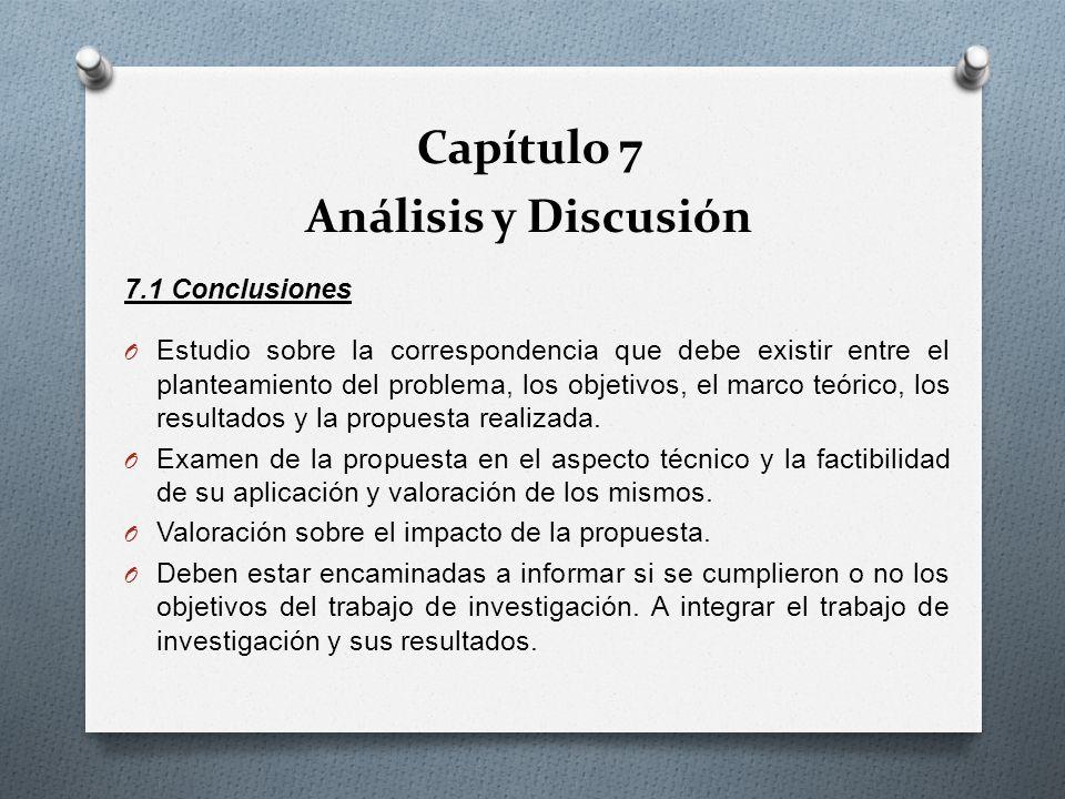 7.1 Conclusiones O Estudio sobre la correspondencia que debe existir entre el planteamiento del problema, los objetivos, el marco teórico, los resulta