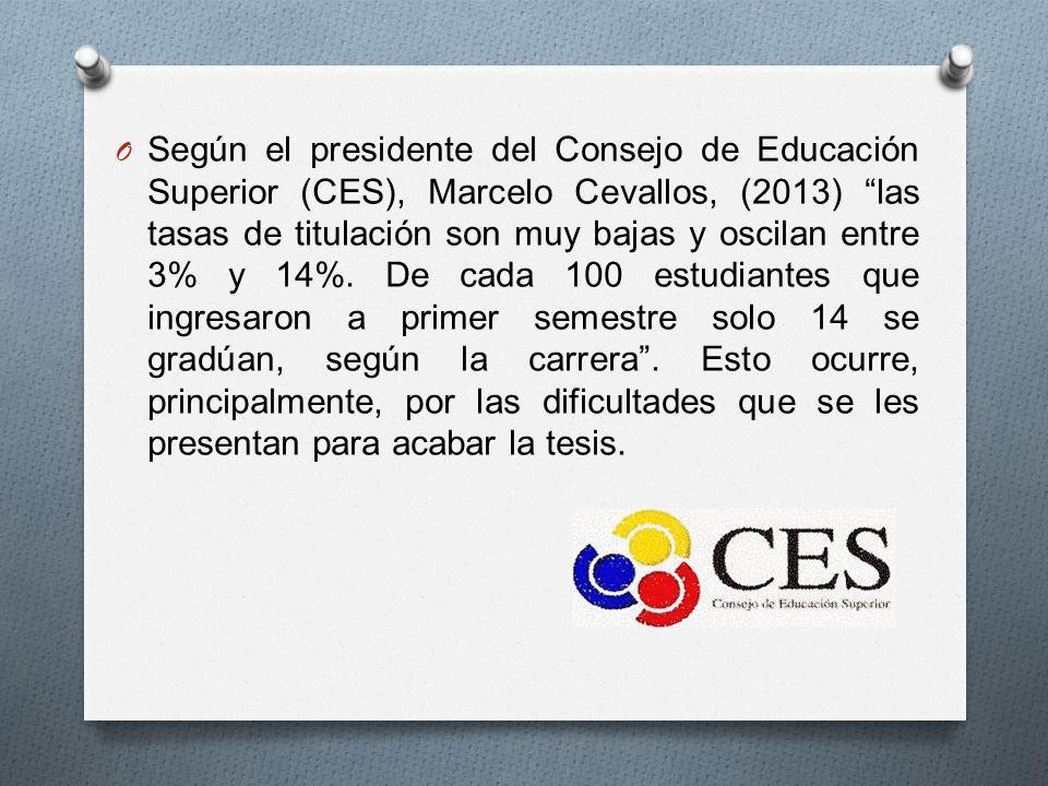 O Según el presidente del Consejo de Educación Superior (CES), Marcelo Cevallos, (2013) las tasas de titulación son muy bajas y oscilan entre 3% y 14%