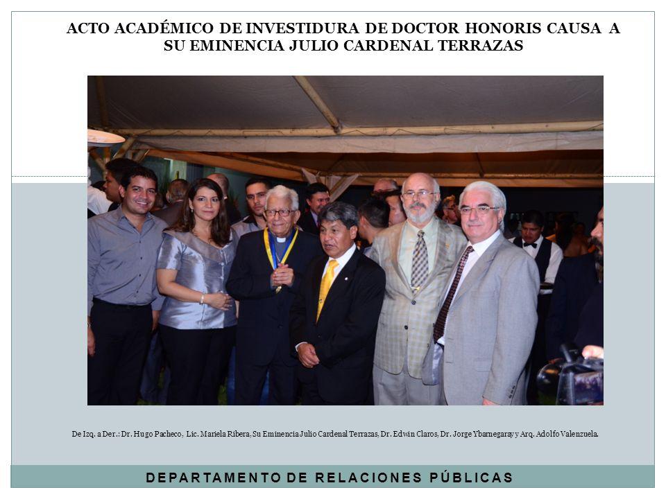 De Izq. a Der.: Dr. Hugo Pacheco, Lic. Mariela Ribera, Su Eminencia Julio Cardenal Terrazas, Dr. Edwin Claros, Dr. Jorge Ybarnegaray y Arq. Adolfo Val