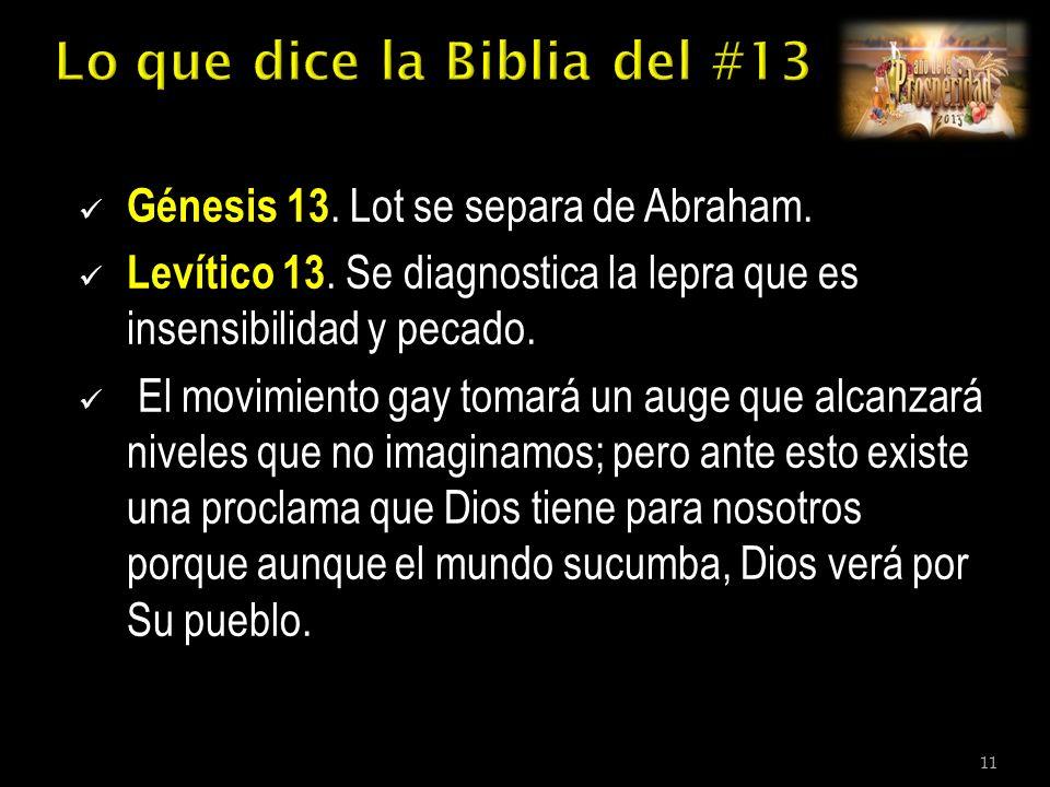 Génesis 13. Lot se separa de Abraham. Levítico 13.