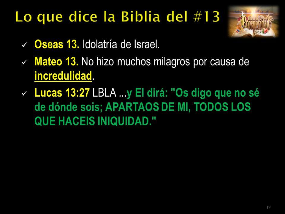 Oseas 13. Idolatría de Israel. Mateo 13. No hizo muchos milagros por causa de incredulidad.